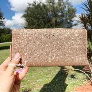 👛💕Kate Spade Zip Around Wallet Glitter Rose Pink